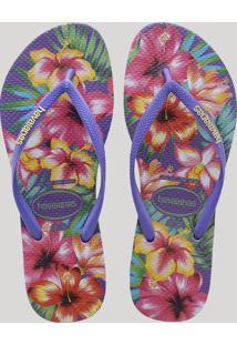 c050000c62 Chinelo Feminino Havaianas Slim Estampado Floral Roxo Neon
