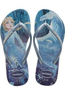Sandália Infantil Havainas Slim Frozen Cf Feminina - Feminino-Azul+Branco