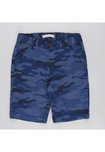Bermuda De Sarja Infantil Reta Estampada Camuflada Azul Marinho