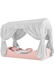 Mini Cama Montessoriana Colorê E Dossel-Pura Magia - Branco / Rose