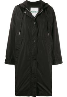 Kenzo Logo Hooded Raincoat - Preto