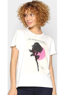 Camiseta Forum Estampada Art Feminina - Feminino-Areia