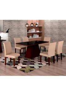 Conjunto De Mesa De Jantar Luna Com Vidro E 6 Cadeiras Ane I Veludo Castor E Preto