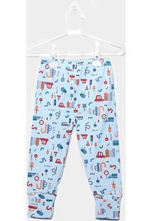 Calça Infantil Up Baby Estampada - Masculino-Azul