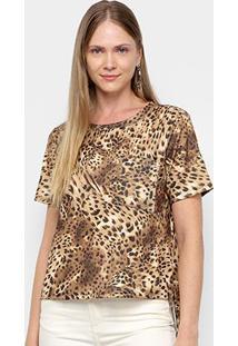 Camiseta Lança Perfume Estampada Bolso Feminina - Feminino-Bege+Marrom