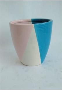 Vaso De Cerâmica Azul Petróleo/Branco/Rosa Pq