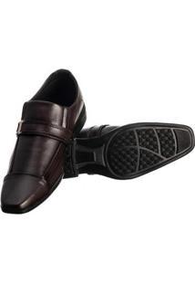 Sapato Social Masculino Elástico Metal Conforto Moderno - Masculino-Marrom Escuro