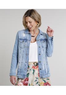 Jaqueta Jeans Feminina Longa Com Bolsos E Rasgos Azul Claro