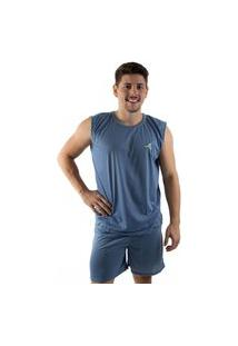 Pijama 4 Estações Regata Masculino Liso Adulto Curto Veráo Fechado Confortavel Azul