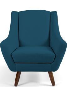 Poltrona Decorativa Sala De Estar Pés De Madeira Naomi Algodão Azul Blazer - Gran Belo