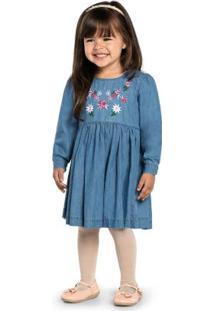 Vestido Infantil Jeans Com Bordado Cinza