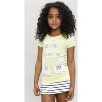 223729d153 Blusa Infantil Lhama Manga Curta Decote Redondo Amarela
