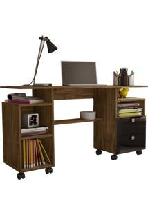 Mesa Para Computador C215 Nobre Com Preto Brilho