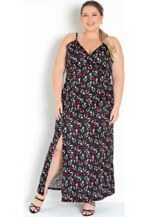 Vestido Longo Floral Preto Com Fenda Plus Size