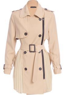 Casaco Feminino Trench Coat Costas Plissados - Bege