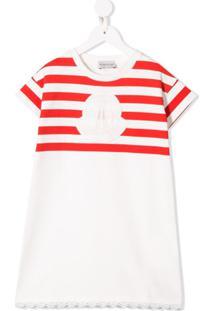 Moncler Kids Vestido Listrado Com Logo - Branco