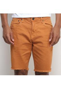 Shorts Jeans Calvin Klein Barra Desfiada Masculino - Masculino-Marrom Claro