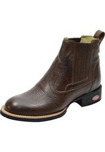 Bota Country Bico Redondo Atron Shoes 955 Couro Marrom