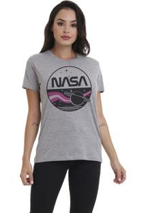 Camiseta Básica Jay Jay Nasa Cinza Mescla Dtg