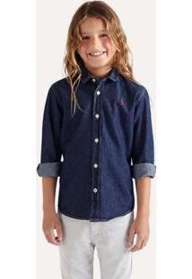 Camisa Mini Cont Ae Easy Oxford Denim Ml Reserva Mini Azul