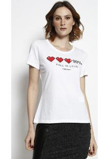 "Camiseta ""Fall In Love"" - Branca & Vermelha - Coca-Ccoca-Cola"
