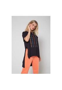 T-Shirt Malha Fendas Silk Nice