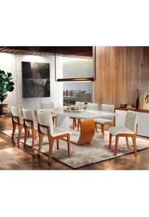 Conjunto De Mesa De Jantar Bella Com 8 Cadeiras Linho Imbuia