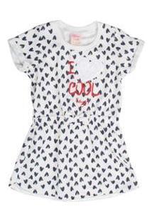 Vestido Bebê Estampa Coração Laço - Unissex-Branco