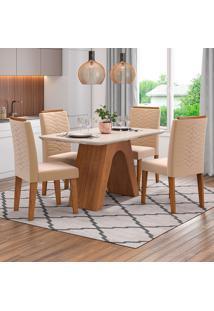 Conjunto De Mesa Clara 1,30Cm Para Sala De Jantar Com 4 Cadeiras Clarice-Cimol - Savana / Off White / Nude