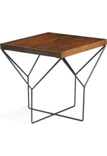 Mesa Lateral Abbey Yvi Rustic Brown Com Base Grafite 55 Cm (Alt) - 50090 - Sun House