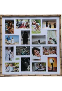 Painel Bambu Collection Para 16 Fotos 10X15 Com Margem Branca - Woodart - Marrom
