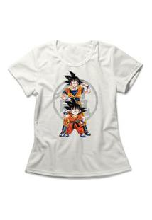 Camiseta Feminina Goku Fases Off-White
