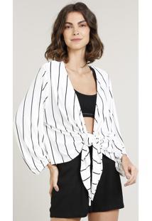 Kimono Feminino Curto Listrado Com Nó Manga Longa Off White