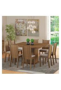 Conjunto Sala De Jantar Clarice Madesa Mesa Tampo De Madeira Com 8 Cadeiras Marrom