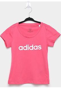 Camiseta Infantil Adidas Yg E Lin Feminina - Feminino-Rosa+Branco