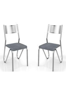 Kit 2 Cadeiras Nápolis Cromada Preto Linho Cinza Kappesberg
