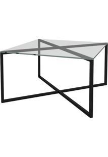 Mesa De Centro Quadrada Com Tampo De Vidro Easy Incolor E Preta