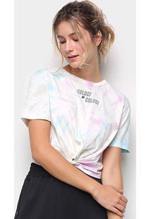 Camiseta Colcci Tie Dye Amarração Feminina - Feminino-Rosa+Verde