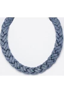 Colar Trançado - Azul Escuro - 3X50Cmeva