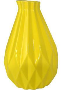 Vaso Decorativo Grande- Amarelo- 26Xø16,5Cm- Mdemdecor