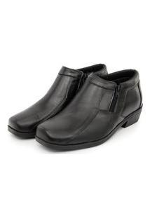 Sapato Social Couro Conforto Br2 Solado De Borracha Fechamento Em Zíper