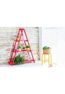 Estante Escada De Madeira Maciça Dobrável 3 Prateleiras Stain Vermelho Mão E Formão - 120X35X150 Cm