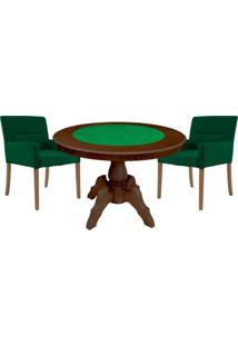 Mesa De Jogos Carteado Redonda Montreal Tampo Reversível Imbuia Com 2 Cadeiras Vicenza Verde - Gran Belo