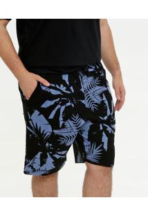 Bermuda Masculina Moletinho Estampa Folhas Plus Size