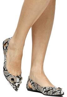 Sapatilha Couro Shoestock Bico Fino Pedraria Feminina - Feminino