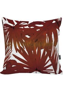 Capa Para Almofada Red Foliage- Laranja Escuro & Branca