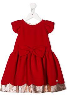 Hucklebones London Vestido Godê Com Acabamento Ondulado - Vermelho