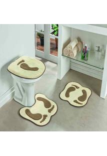 Jogo Banheiro Dourados Enxovais Formato Pegada Palha