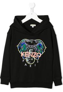 Kenzo Kids Moletom De Capuz Com Elefante Bordado - Preto