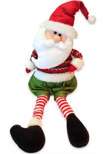 Papai Noel Decorativo Sentado 61X20Cm Vermelho E Verde